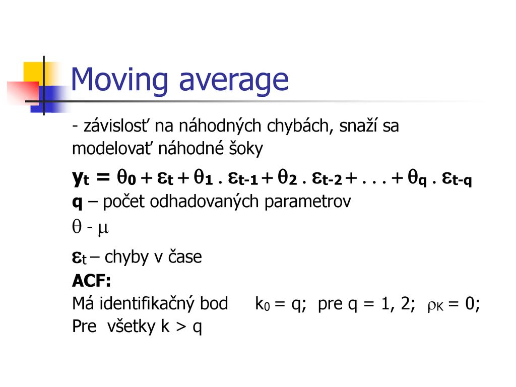 Moving average et – chyby v čase